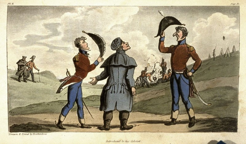 Introduced to his Colonel,plate 4 opposite page 51 in the book The Military Adventures of Johnny Newcome (London: Patrick Martin, 1815)