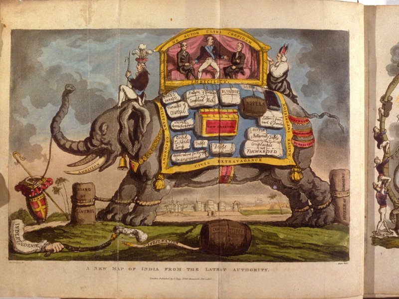 A New Map of Inda from the Latest Authority, frontispiece and first plate in the book 'The Grand Master or Adventures of Qui Hi? in Hindostan, A Hudibrastic Poem in Eight Cantos' by Quiz (London: Thomas Tegg, 1816)