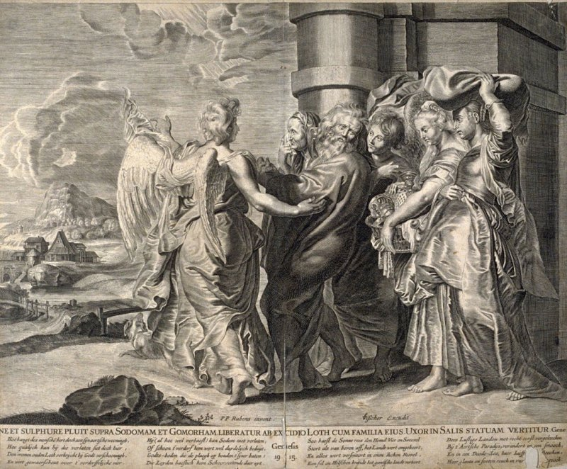 ...Ne et Sulphure Pluit supra Sodomam et Gomorham... (The Angel Urges Lot to Take His Wife and Daughters Out of Sodom) , Genesis 19:15, after a composition by Peter Paul Rubens from a group of Biblical illustrations printed by C. J. Visscher