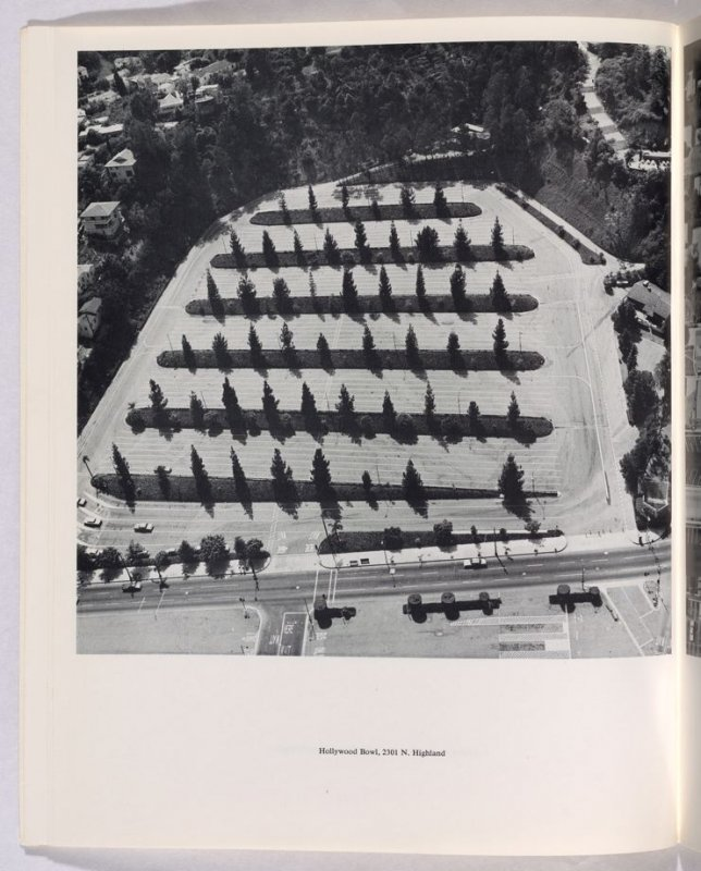 """""""Hollywood Bowl, 2301 N. Highland,"""" in the book Thirtyfour Parking Lots in Los Angeles by Edward Ruscha (Los Angeles: self published, 1967)"""