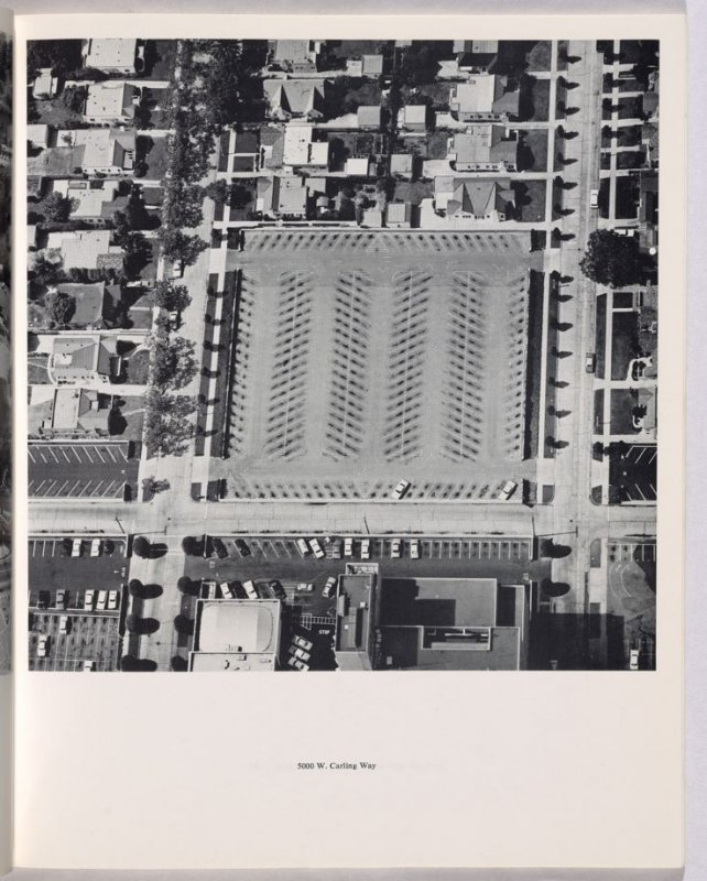 """5000 W. Carling Way,"" in the book Thirtyfour Parking Lots in Los Angeles by Edward Ruscha (Los Angeles: self published, 1967)"