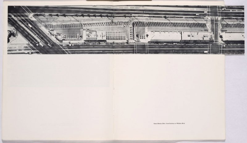 """""""Santa Monica Blvd. from Roxbury to Wilshire Blvd.,"""" in the book Thirtyfour Parking Lots in Los Angeles by Edward Ruscha (Los Angeles: self published, 1967)"""