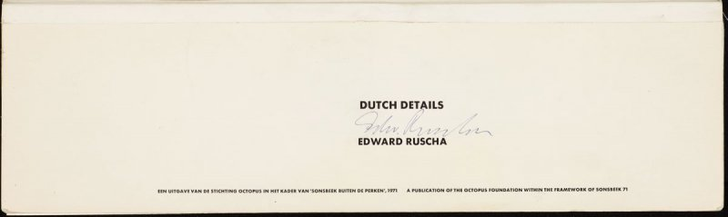 Frontispiece of the book Dutch Details by Ed Ruscha (Octopus Foundation, 1971)
