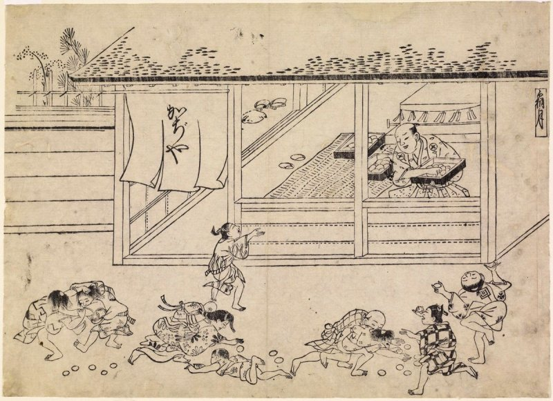Shopkeeper Tossing Cakes to Children, Illustration for the Eleventh Month, (Shimotsuki) from an untitled series of the 12 months