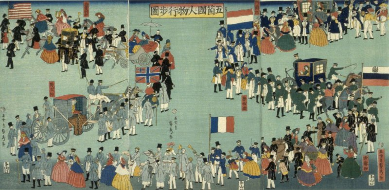 Parade of People from Five Countries (United States Great Britain, France, Russia, Holland)