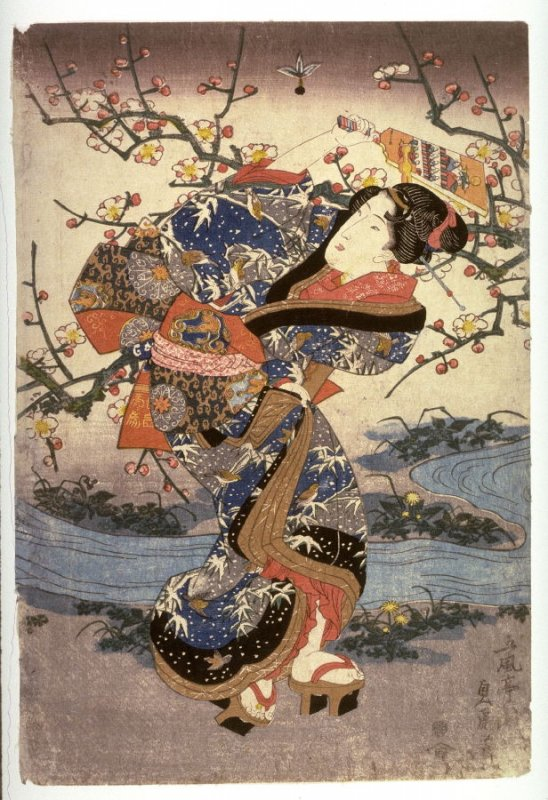 Young Woman by a Stream, from the series Elegant Spring Pastimes (Furyu haru no asobi), panel from  a triptych