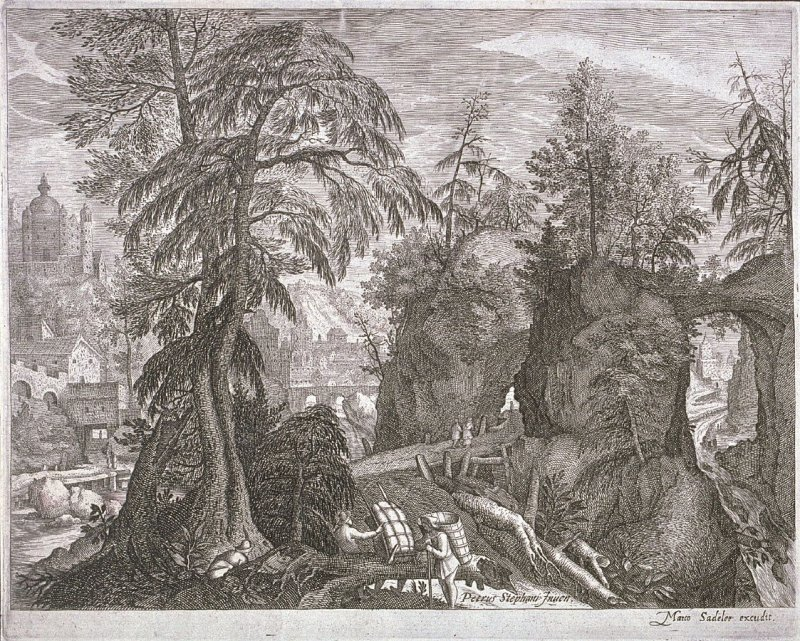 Rocky Landscape, from set of Eight Bohemian Land- and Riverscapes