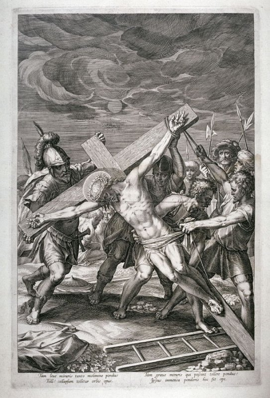 Raising the Cross, from a series of The Passion