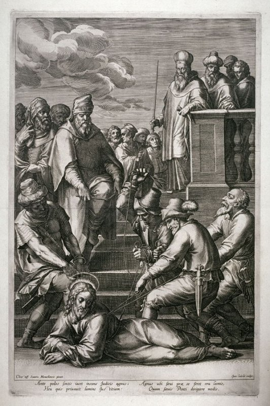 Christ Falls Before Pilate Breaking the Reed, from a series of The Passion