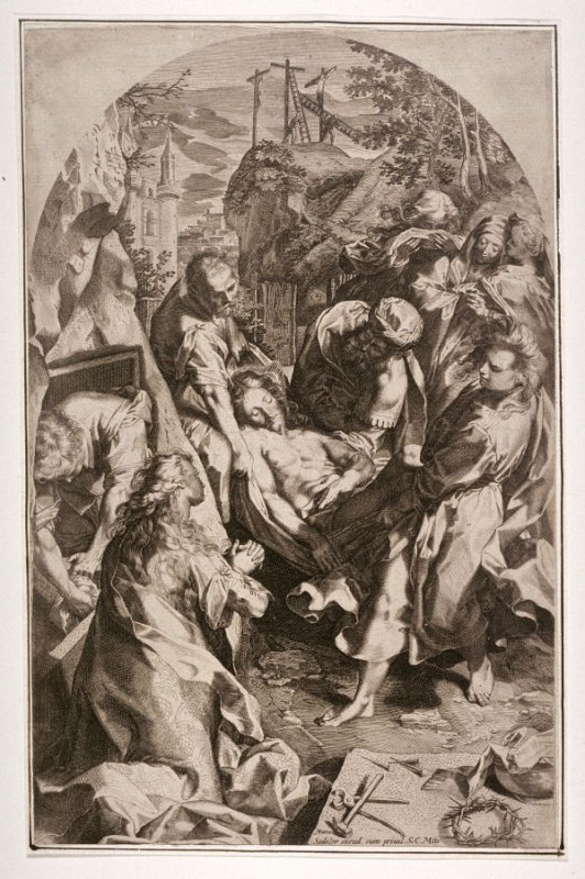 Joseph of Arimathea and his men carrying the dead body of Christ to the sepulchre