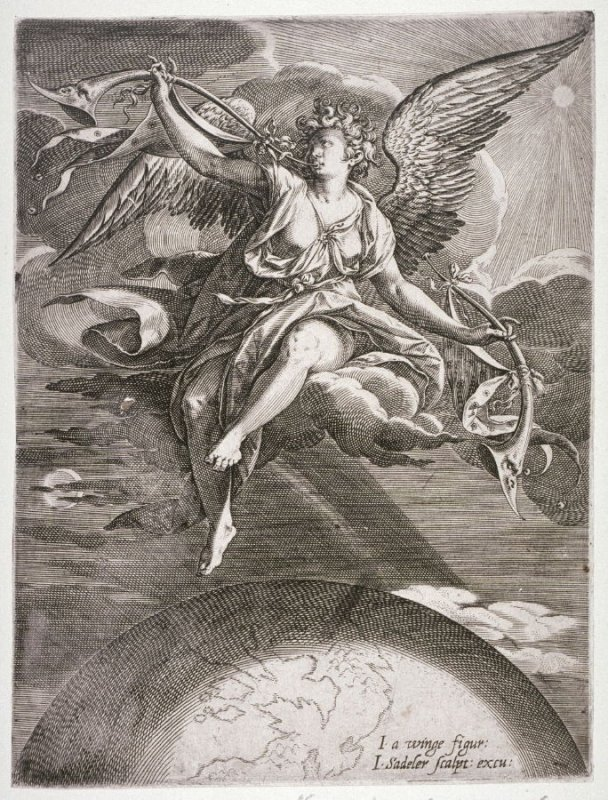 Figure of Angel over the World blowing horn: The Last Judgment