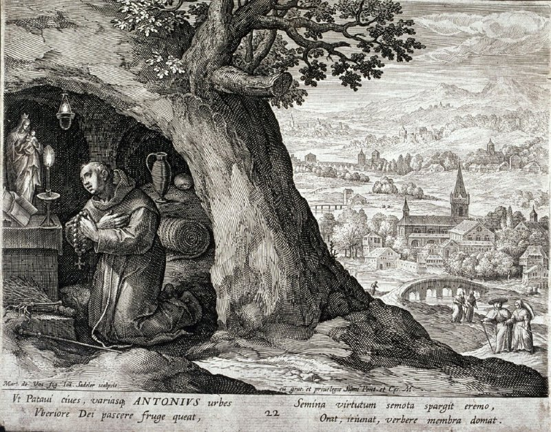 Saint Anthony of Padua, no. 22 from Trophaeum Vitae Solitariae (Lives of the Hermits)