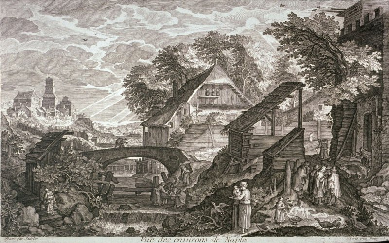 Farmhouses on the Right of a River, from set of Eight Scenes in Bohemia (Vue des environs de Naples)