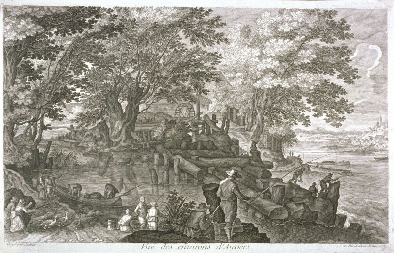Watermill on an Island [in a River, from set of Eight Scenes in Bohemia (Vue des environs d'Anvers{ Antwerp})]