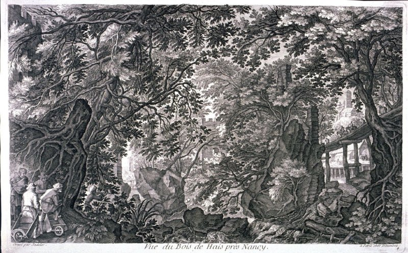 A Forest with a Wooden Bridge [on the Right, from set of Eight Scenes in Bohemia (Vue du Bois de Hais pres de Nancy)]