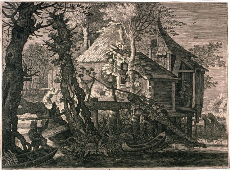 Cottage Partly Built on Piles near a Canal, from set of SIx Landscapes