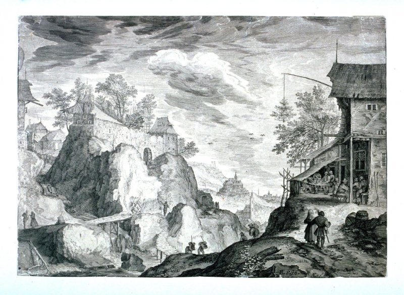 Inn to the Right, Left Rocks with Houses, from set of Six Mountainous Landscapes in Tyrol