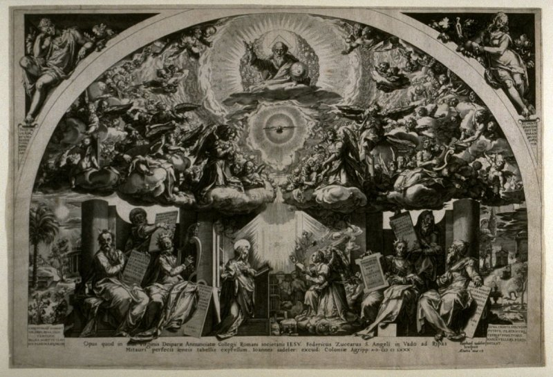 The Annunciation with God the Father, Angels and Sybils, copy in reverse of the engraving by Cornelis Cort after the fresco by Federico Zuccaro in now destroyed Church of Santa Maria Annunziata in Rome