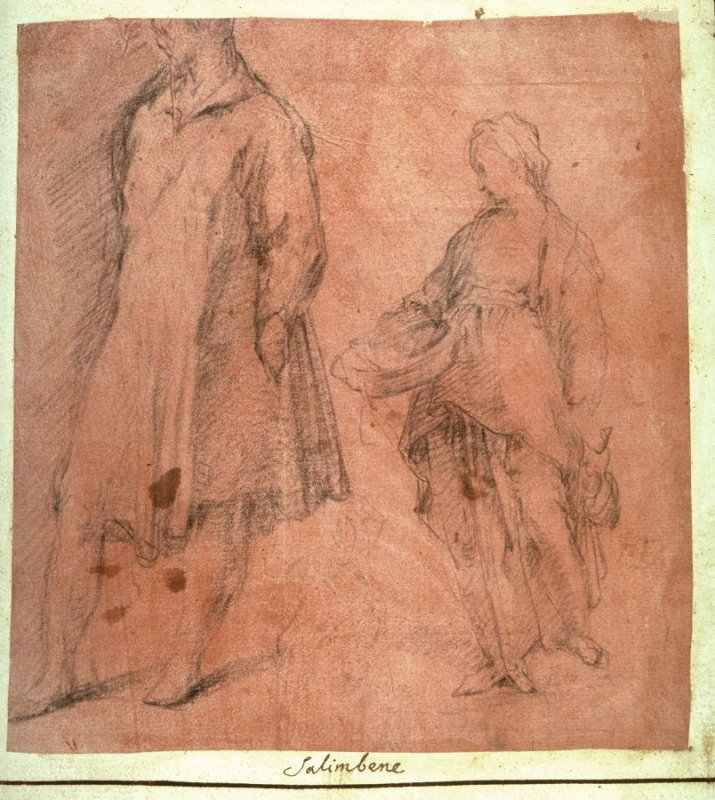 Recto: Studies of a Male and a Female Standing Figure