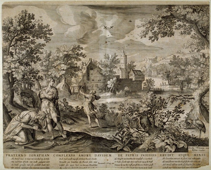 Fraterno Ionathan Complexus Amore Davidem de Patris Insidiis Erudit Atque Minis (David and Jonathan), 1 Samuel: 20, from a group of Biblical illustrations printed by C.J. Visscher