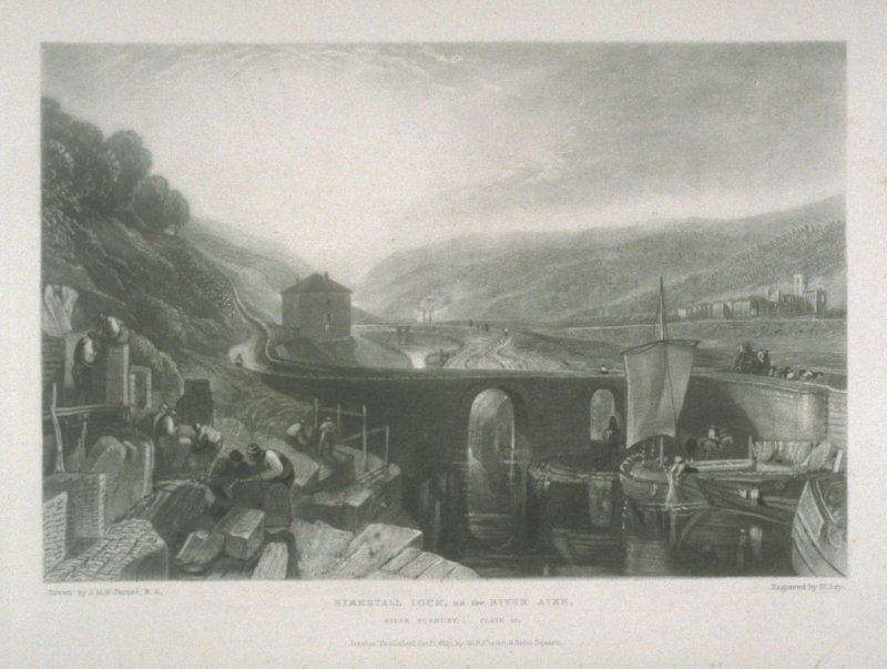 Plate 12: Kirkstall, Lock, on the River Aire, from the series 'The Rivers of England'