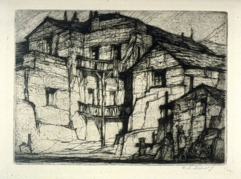 Houses with balconies, two people on right lower corner (untitled)