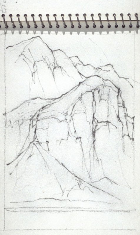 Page 28 in the untitled Sketchbook of Mountain Scenes
