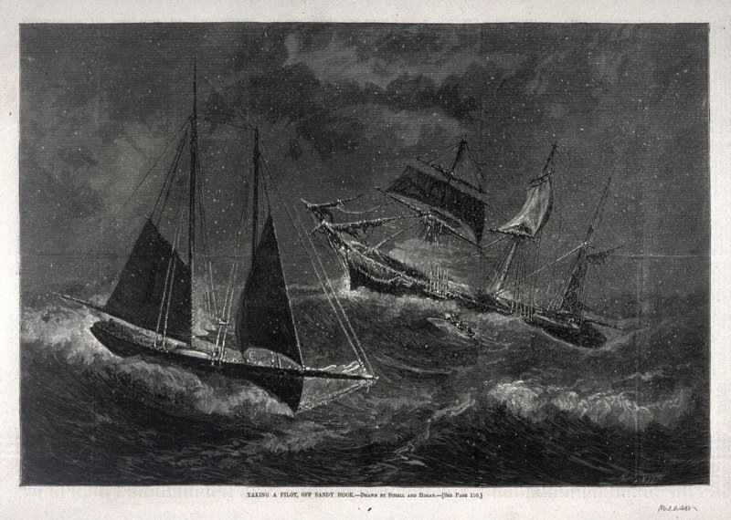 Taking a Pilot, off Sandy Hook - p.108 from Harper's Weekly 10 February 1877