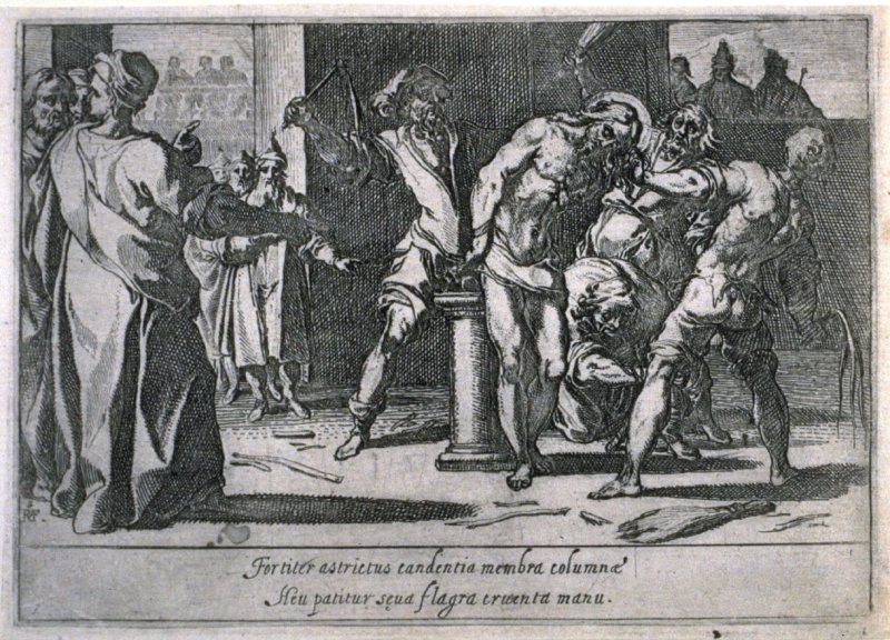 The Flagellation, plate 7, eighth of sixteen plates from the set Quindecim Mysteria Rosarii Beatæ Mariæ Virginis (Mysteries of the Rosary)