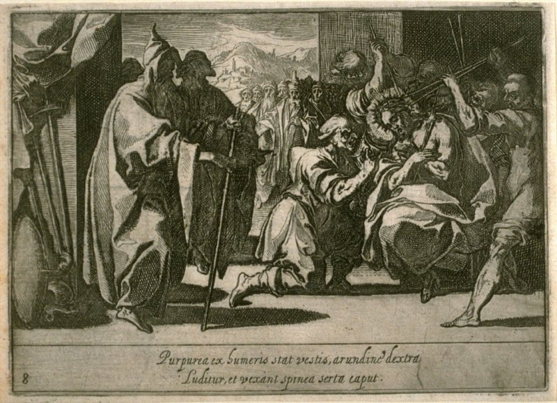 The Crowning with Thorns, plate 8, ninth of sixteen plates from the set Quindecim Mysteria Rosarii Beatæ Mariæ Virginis (Mysteries of the Rosary)