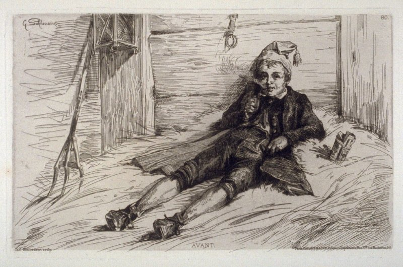"""""""Before"""" A boy smokes a pipe in the barn."""
