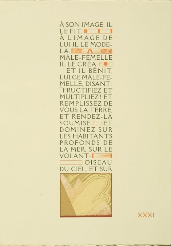 Untitled, pg. XXXI, in the book La Création: Les Trois premiers livres de la Genèse suivis de la généalogie Adamique (Creation: The First Three Books of Genesis Followed by Adam's Geneology) translated by Dr. J. C. Mardrus (Paris: Schmied, 1928)