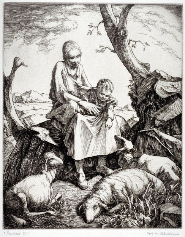 Pastoral III (shepherdess with her child in landscape)