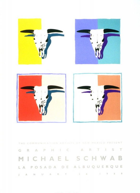 Schwab in New Mexico (Four Skulls), poster for Communication Artists of New Mexico