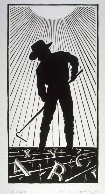 Untitled (Man with a Hoe), poster for Reardon and Krebs Typographers, San Francisco