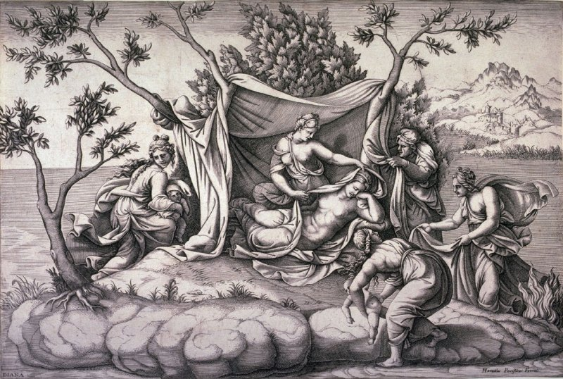 Latona Giving Birth to Apollo and Diana on the Island of Delos, after a painting by Giulio Romano in Hampton Court Palace, England