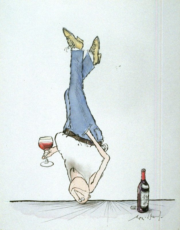 Very Impressive Drinking Style, drawing for the book, Ozzie Winespeak (Moonambel, Victoria: Taltarni, 1986)