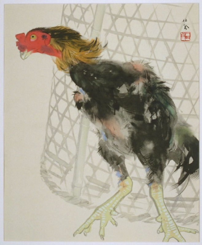 Fighting Cock in Front of its Cage, from the set Seiho's Masterpieces