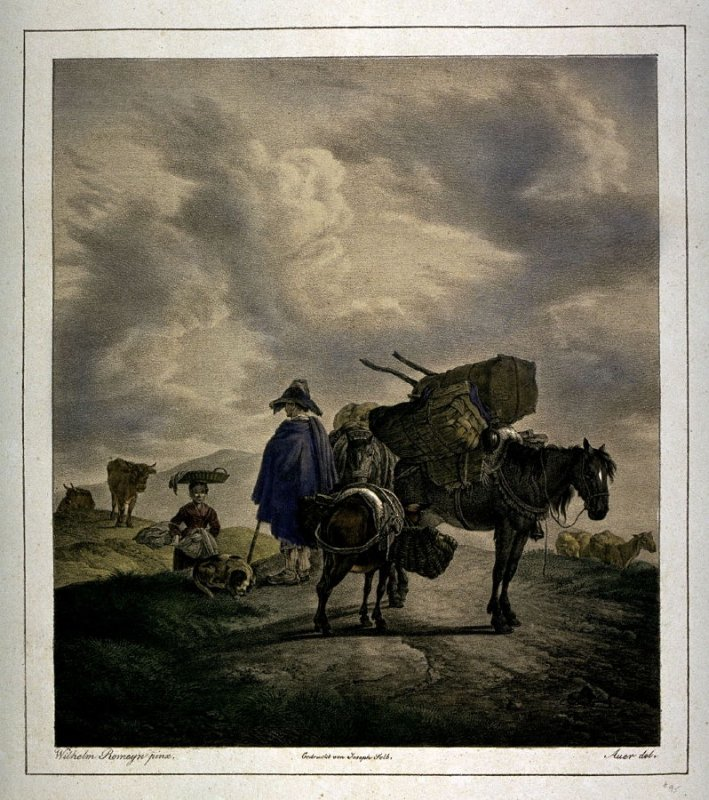 Three packhorses, man and woman and other sheep, cows, etc.