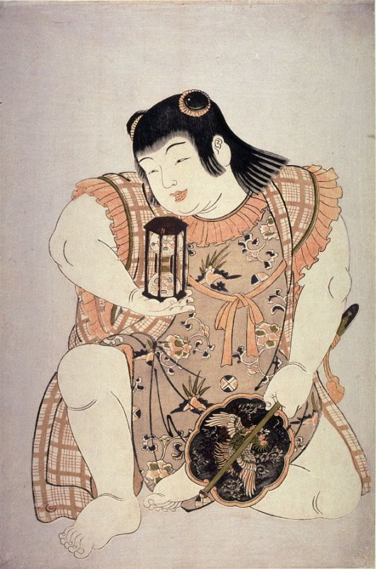 Kneeling Boy Holding an Hourglass (Bishamon) , from an untitled series of Children as the Seven Lucky Gods