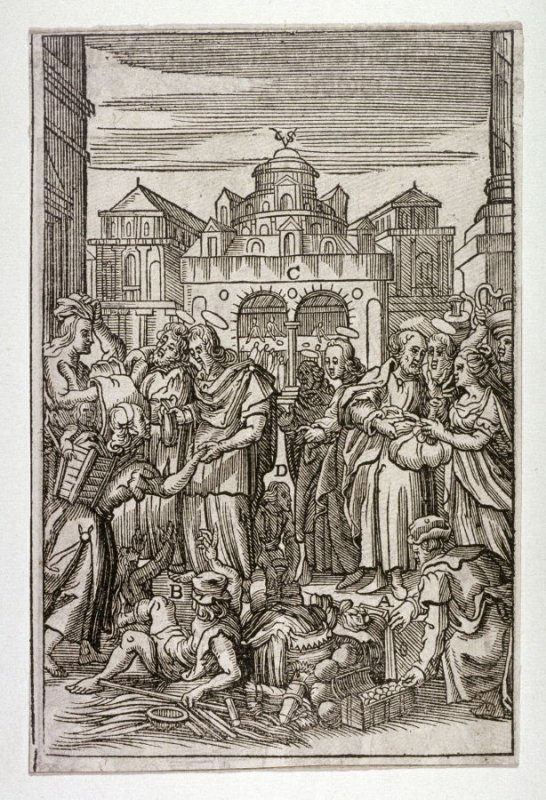 [Biblical scene with charitable acts]