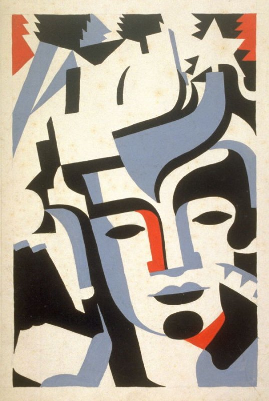 Faces, one of a series of five poster designs for the Indian Court Series for the Federal Building, Golden Gate International Exposition 1939