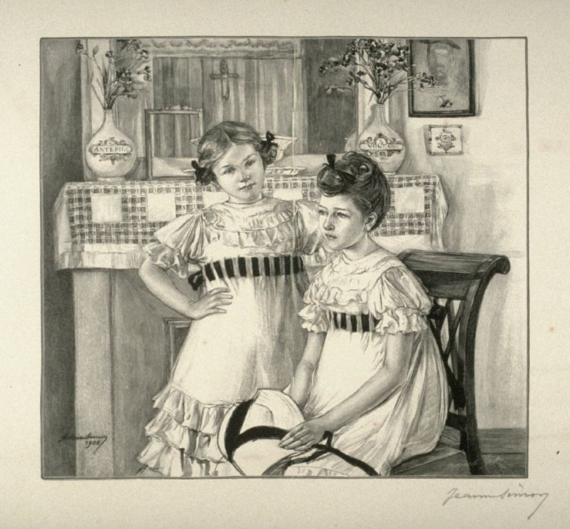 [Portrait of two young girls] from the portfolio Les Cartons d'estampes gravées sur bois, oeuvrage corporative (Portfolio of wood engravings after works of various French artists)