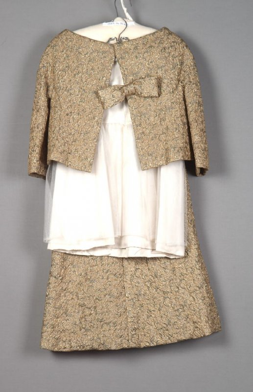Evening dress, jacket, and petticoat
