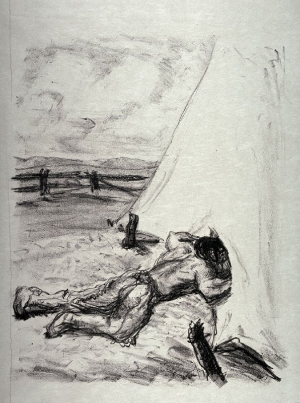 Matoree späht ins Zelt (Matoree peeks into the tent), page 393 from the book Lederstrumpf-Erzählungen (The Leatherstocking Tales) by James Fenimore Cooper (Berlin: Pan-Presse, 1909)