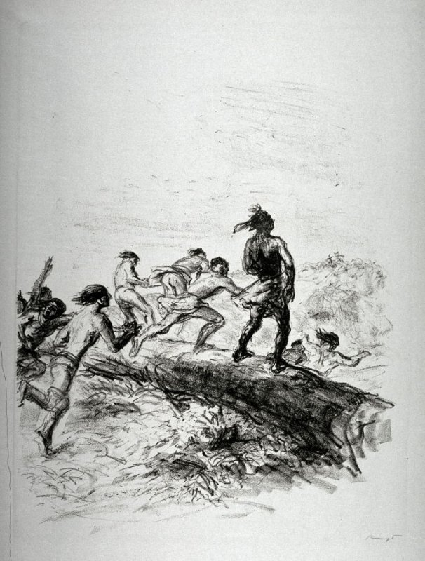 Huronen verfolgen Wildtöter. Sprung über den Baum (Huron pursue Deerslayer. Jump over Tree), page 67 from the book Lederstrumpf-Erzählungen (The Leatherstocking Tales) by James Fenimore Cooper (Berlin: Pan-Presse, 1909)