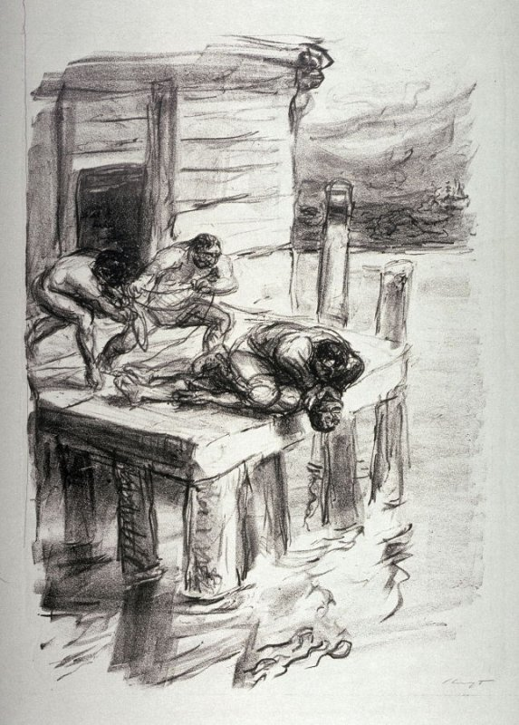 Harry Hurry wird gefesselt (Hurry Harry is tied up), page 71 from the book Lederstrumpf-Erzählungen (The Leatherstocking Tales) by James Fenimore Cooper (Berlin: Pan-Presse, 1909)