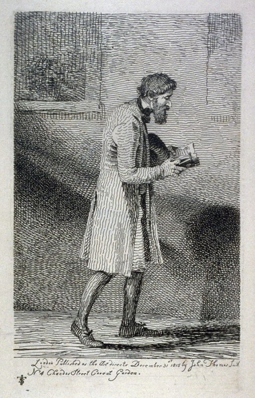 Man walking while reading, from the series 'Etchings of Remarkable Beggars, Itinerant Traders, and other Persons of Notoriety in London and its Environs'