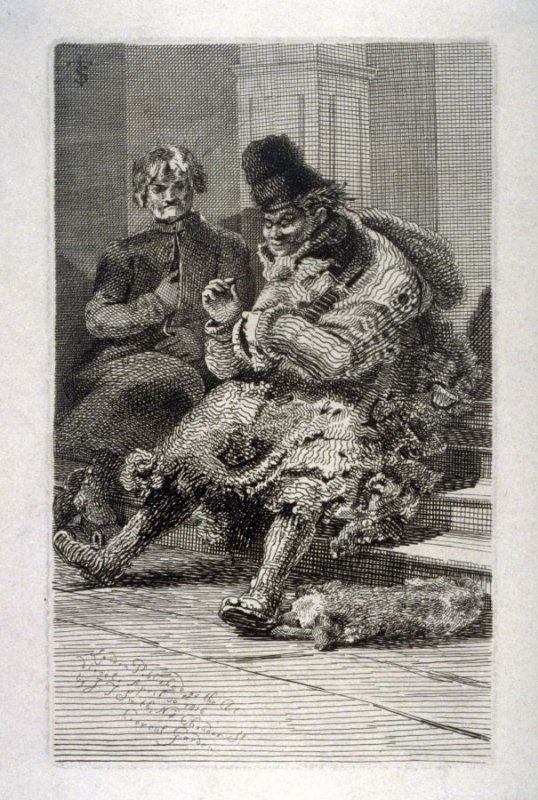 2 men sitting on stairs, dog lying down, from the series 'Etchings of Remarkable Beggars'