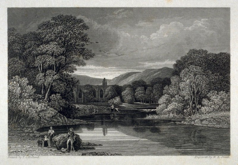 Bolton Abbey, Yorkshire - from the Portfolio: Proofs Before the Letters of the Steel Plates to Hofland's British Angler's Manual